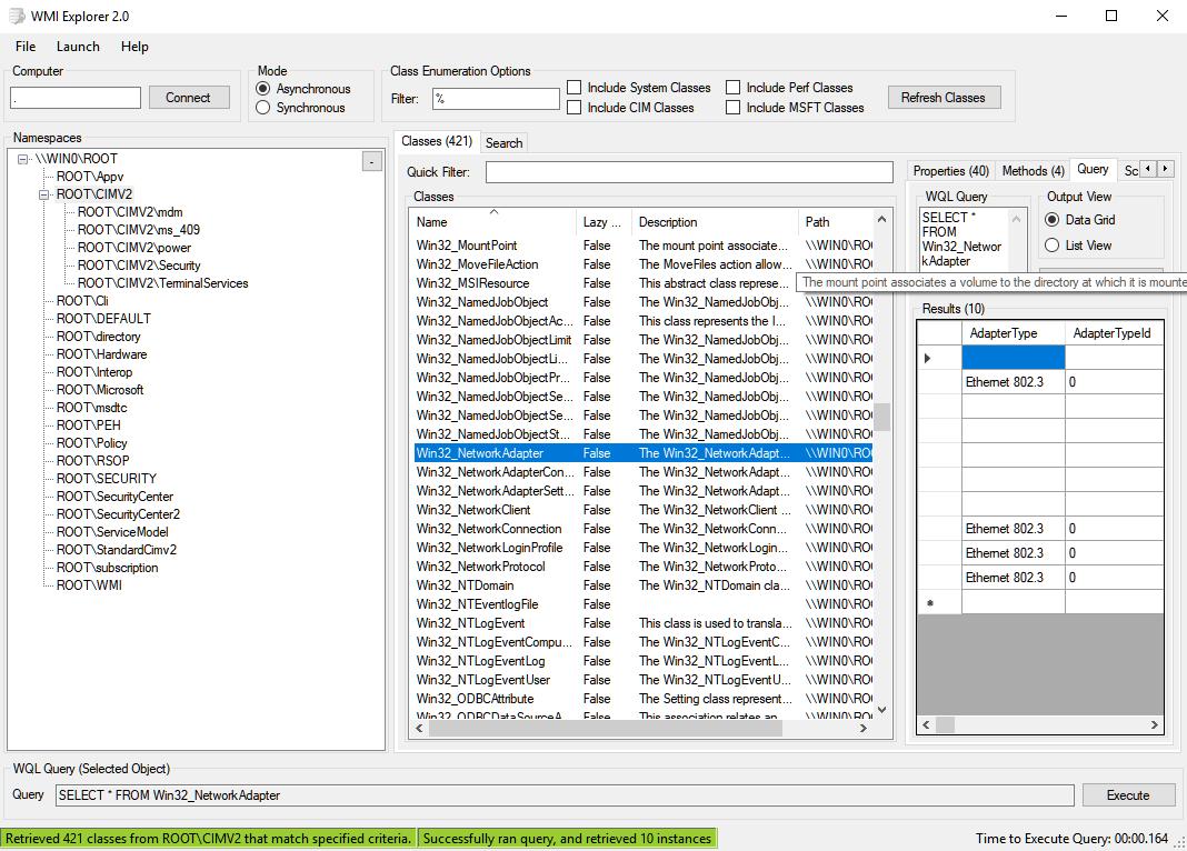 WMI Explorer showing Exchange Classes