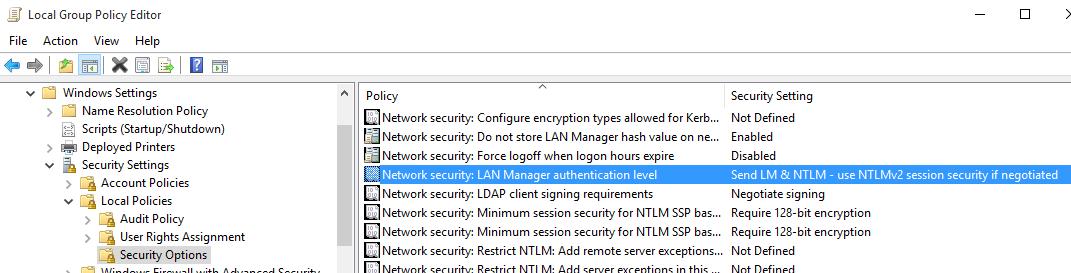 Gpedit Screenshot for NTLM configuration